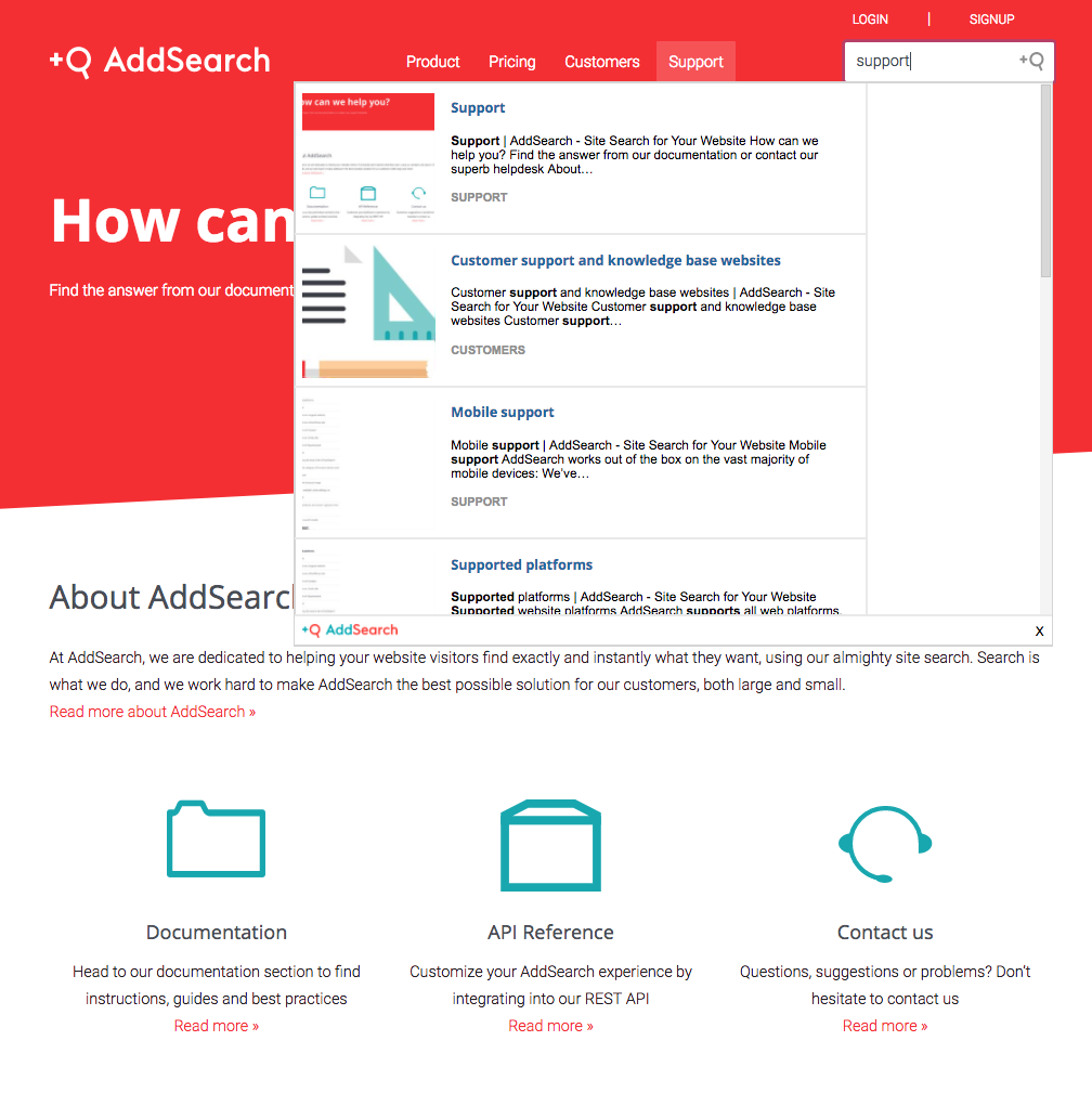 AddSearch Demo - Support