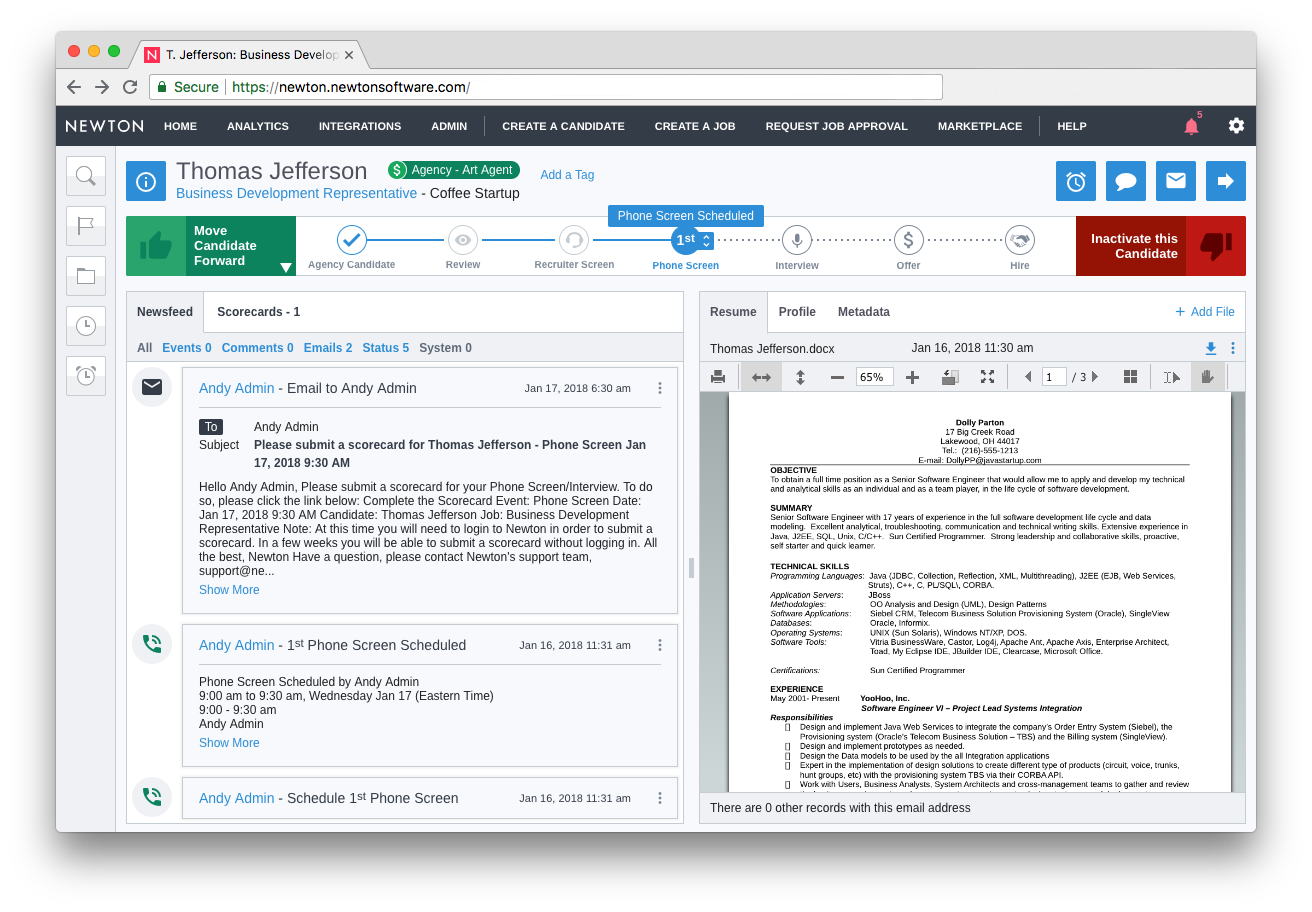 Newton ATS Demo - Searchable Candidate Database