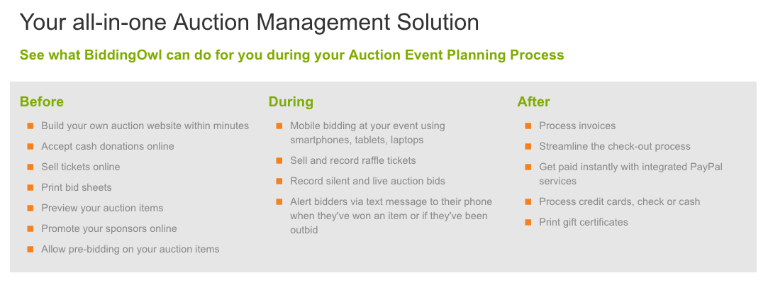 BiddingOwl.com Demo - Your All In One Auction Management Solution