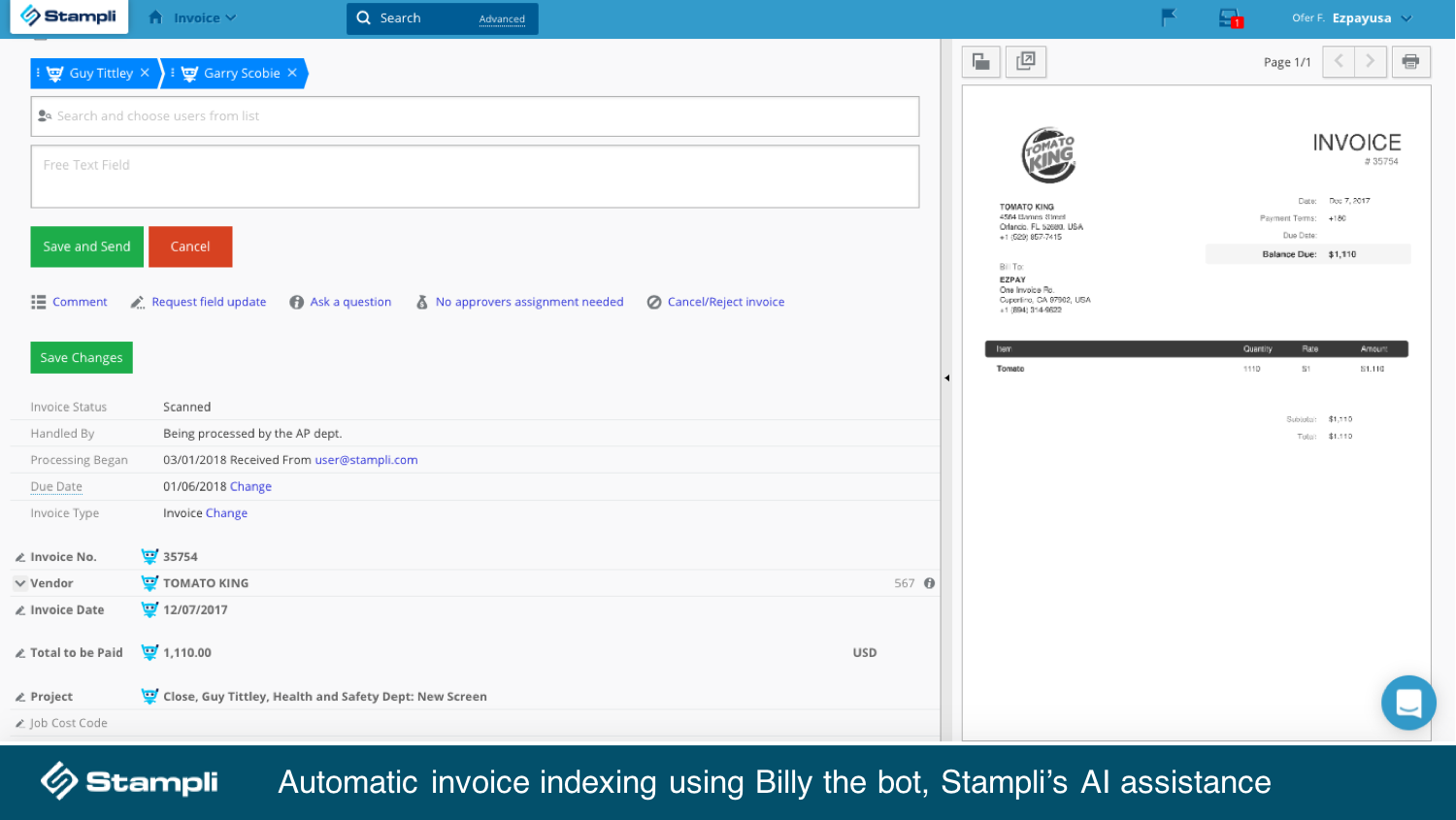 Stampli Demo - Billy the bot does the work for you!