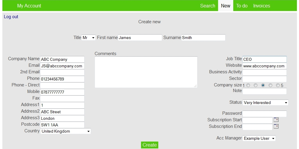 Easy Simple CRM Demo - Create and save contacts