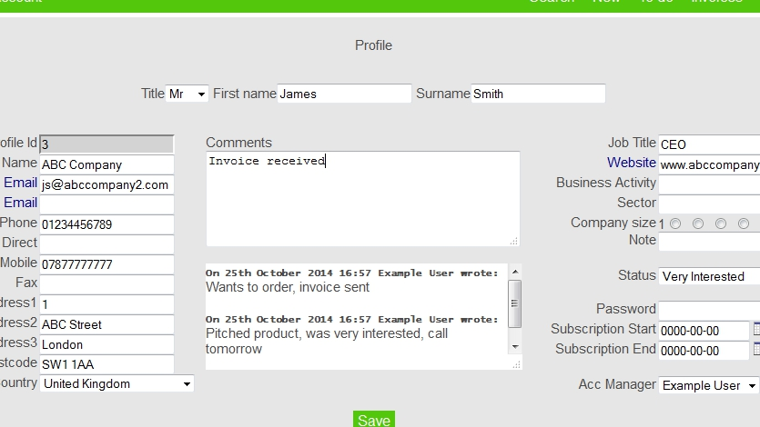 Easy Simple CRM Demo - Write comments to keep track of activity
