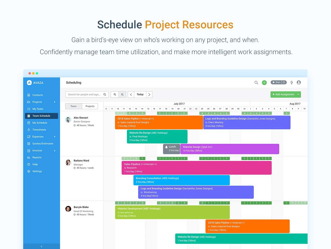 Avaza Demo - Resource Scheduling