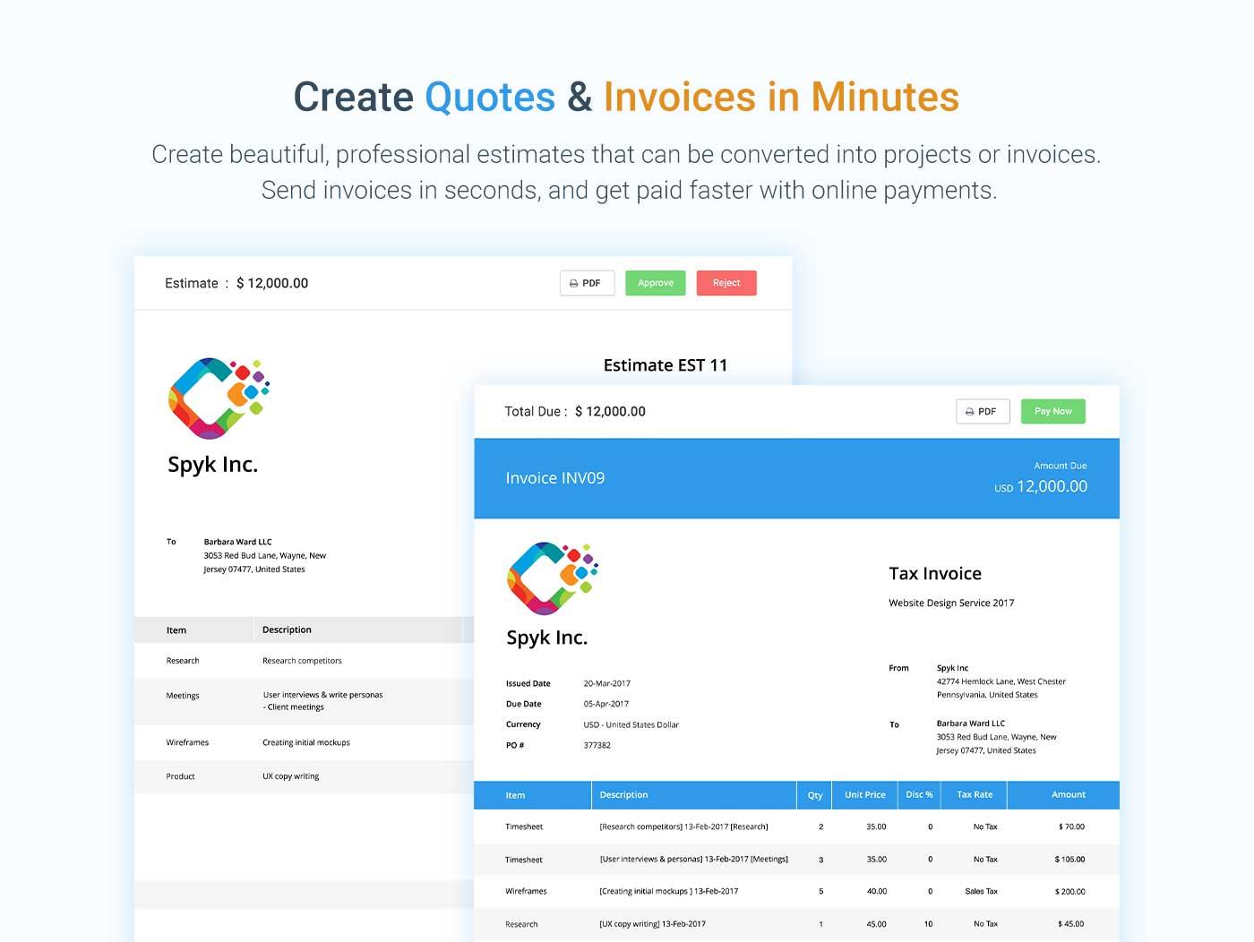 Avaza Demo - Create Quotes & Invoices