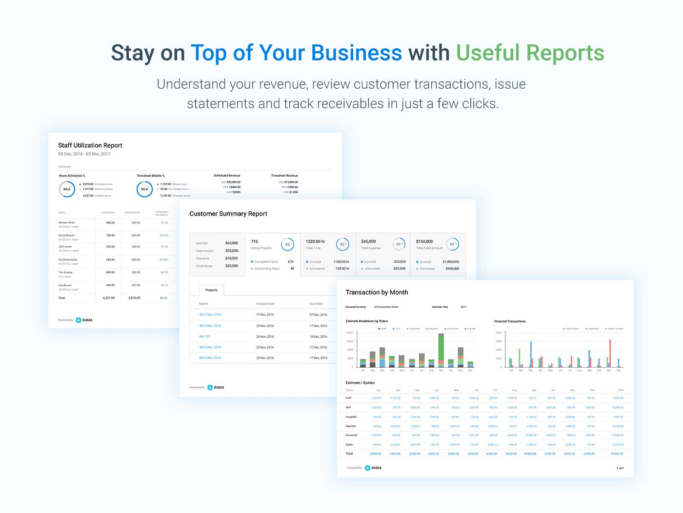 Avaza Demo - Access Powerful Reporting