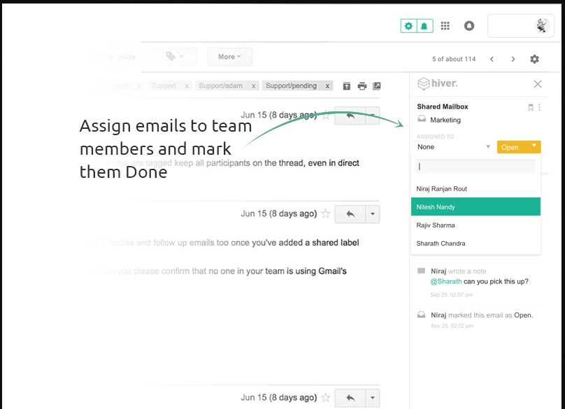 Hiver Demo - Assign emails as tasks