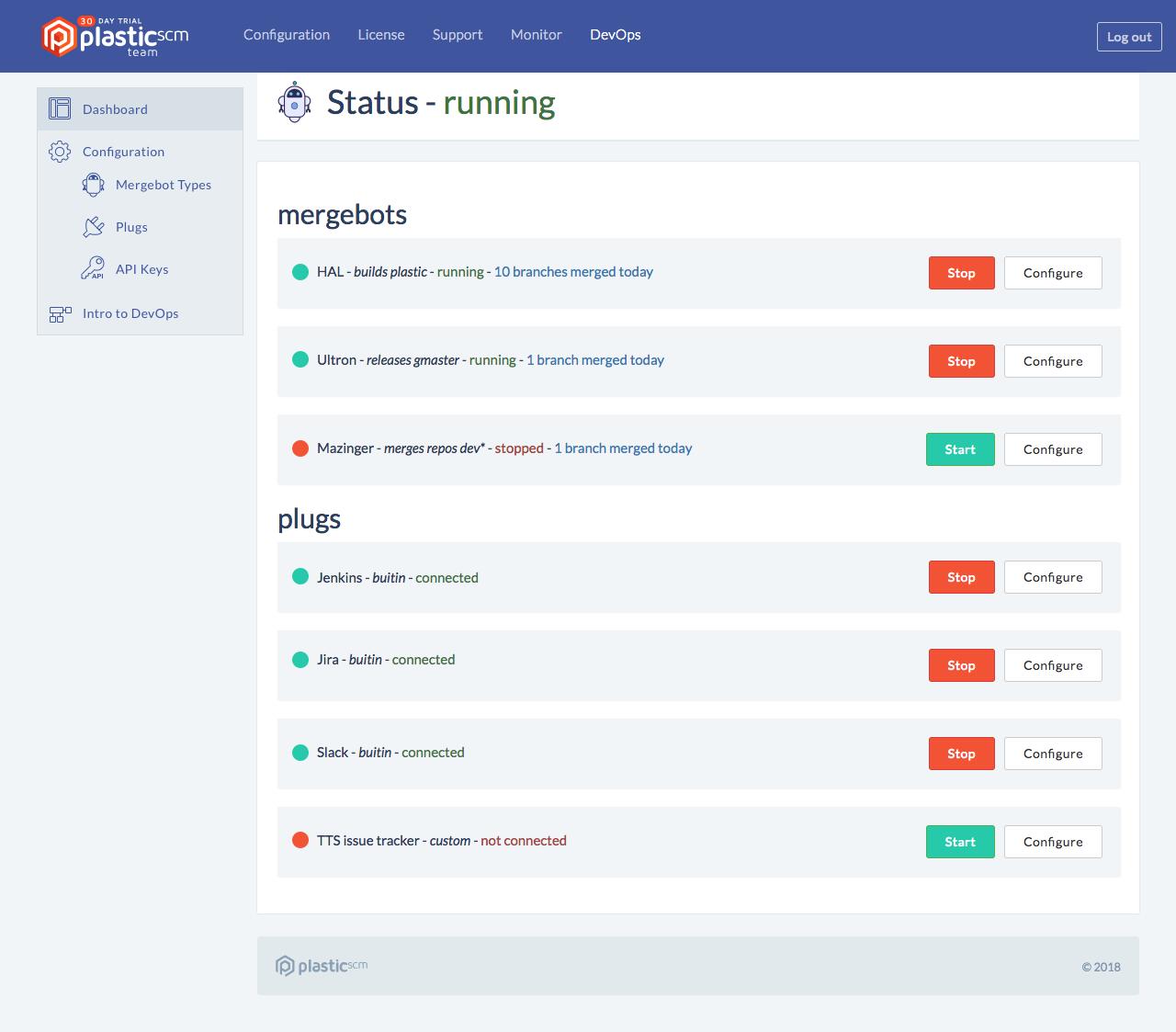 Plastic SCM Demo - Merge Bots dashboard