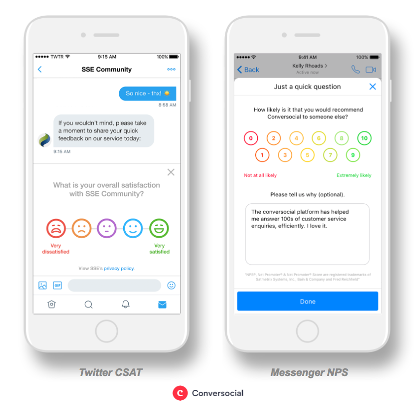 Conversocial Demo - CSAT + NPS Messaging Surveys / Reporting
