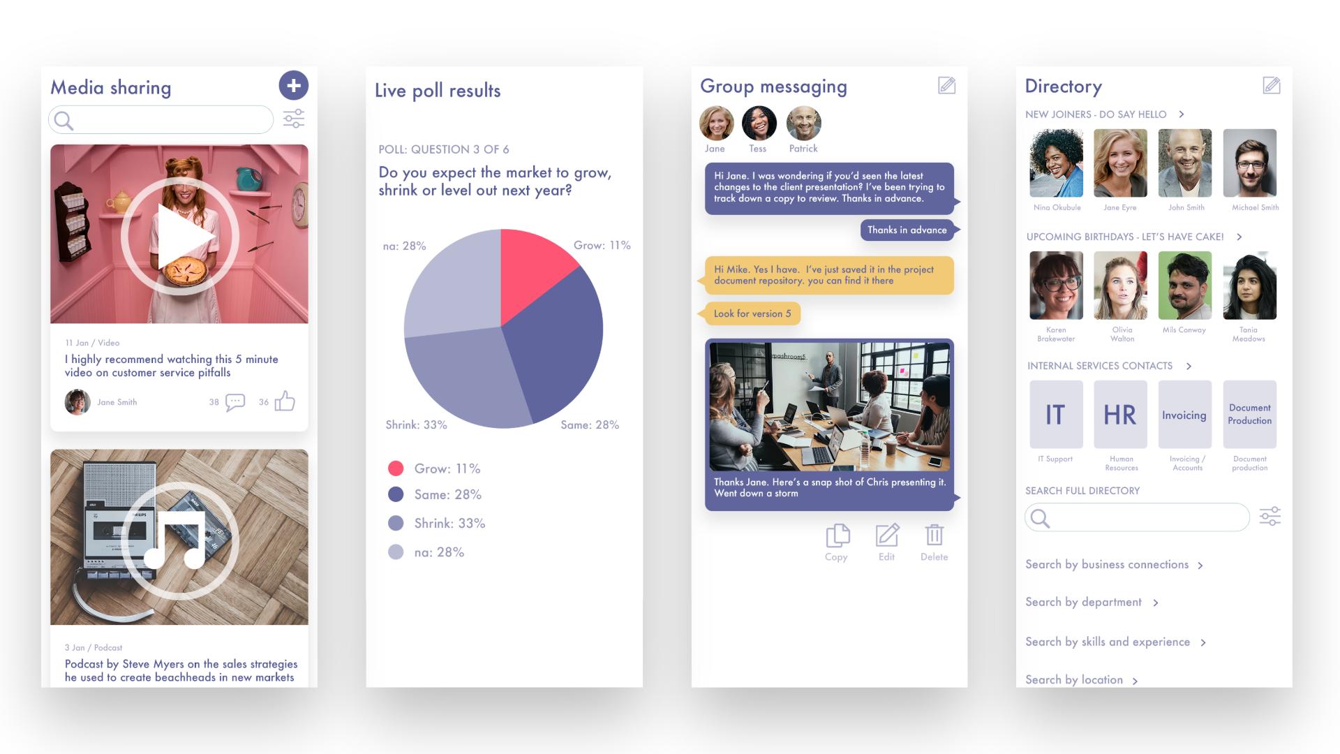 Fliplet Demo - Media sharing, dashboards, messaging, directories