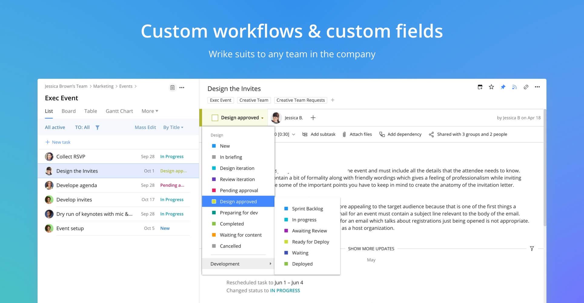 Wrike Demo - Custom workflows & custom fields
