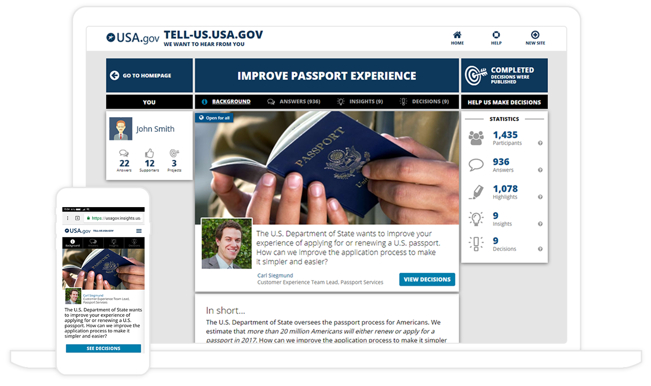 Insights.US Civic Engagement Tool Demo - Civic Engagement Homepage