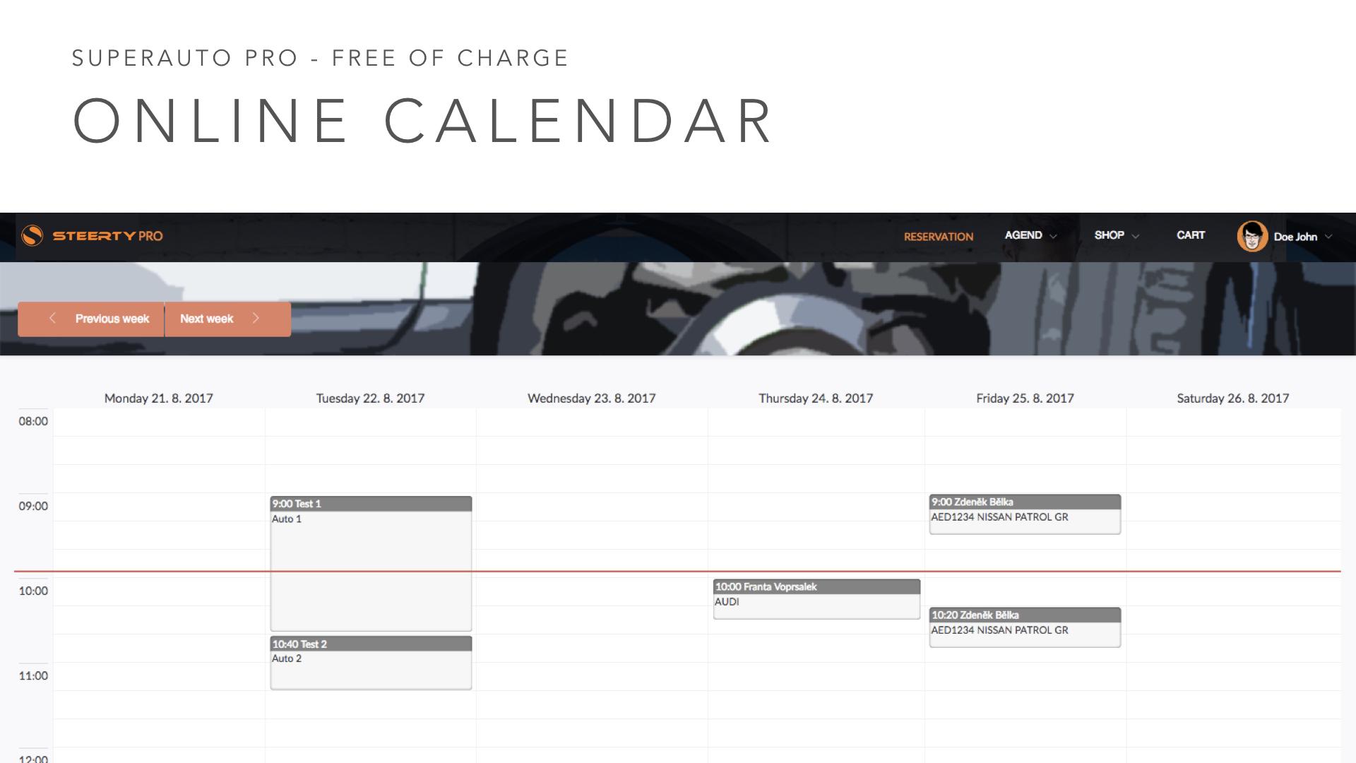 Steerty Demo - Online calendar