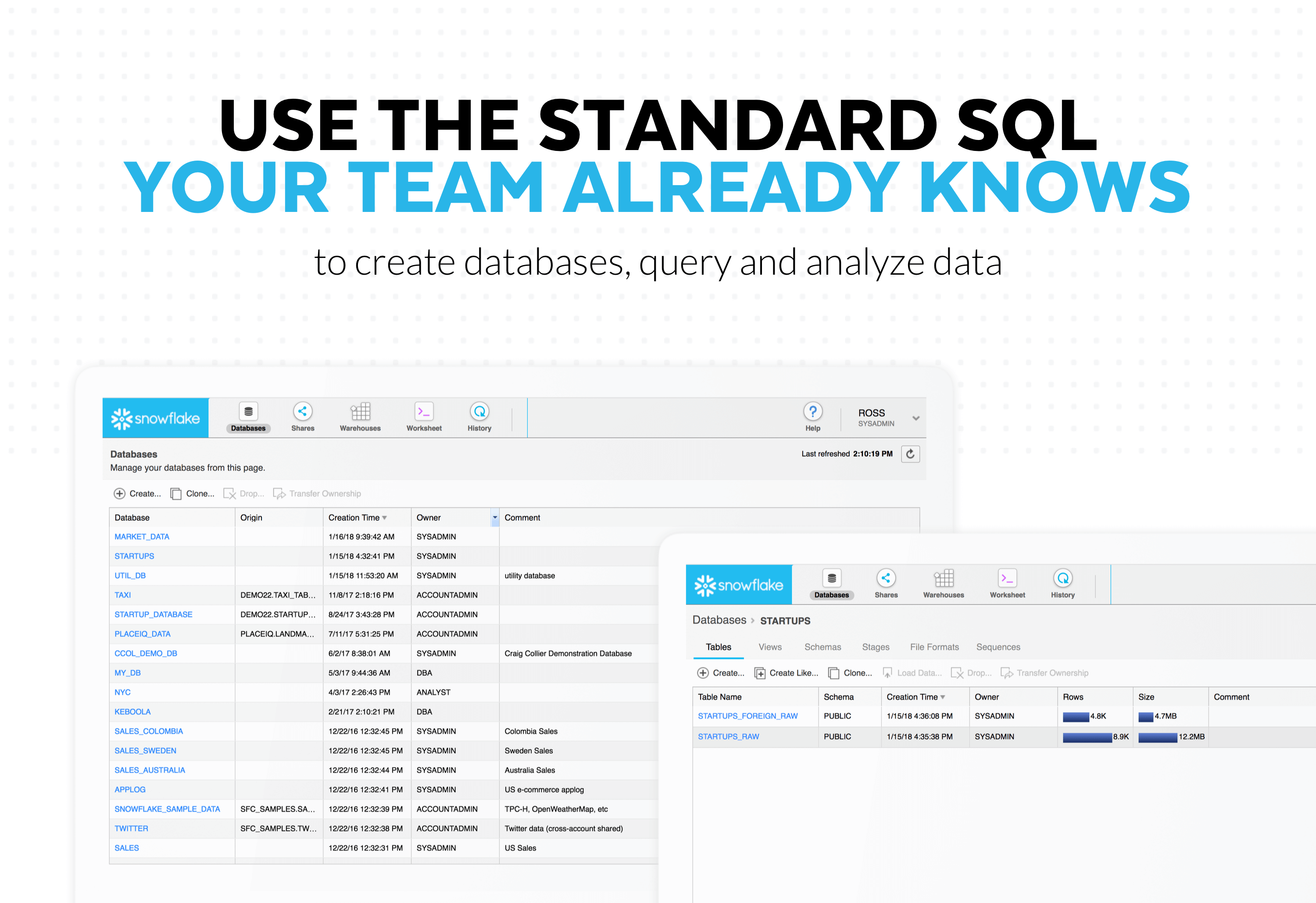 Snowflake Computing Demo - Use the standard SQL your team knows