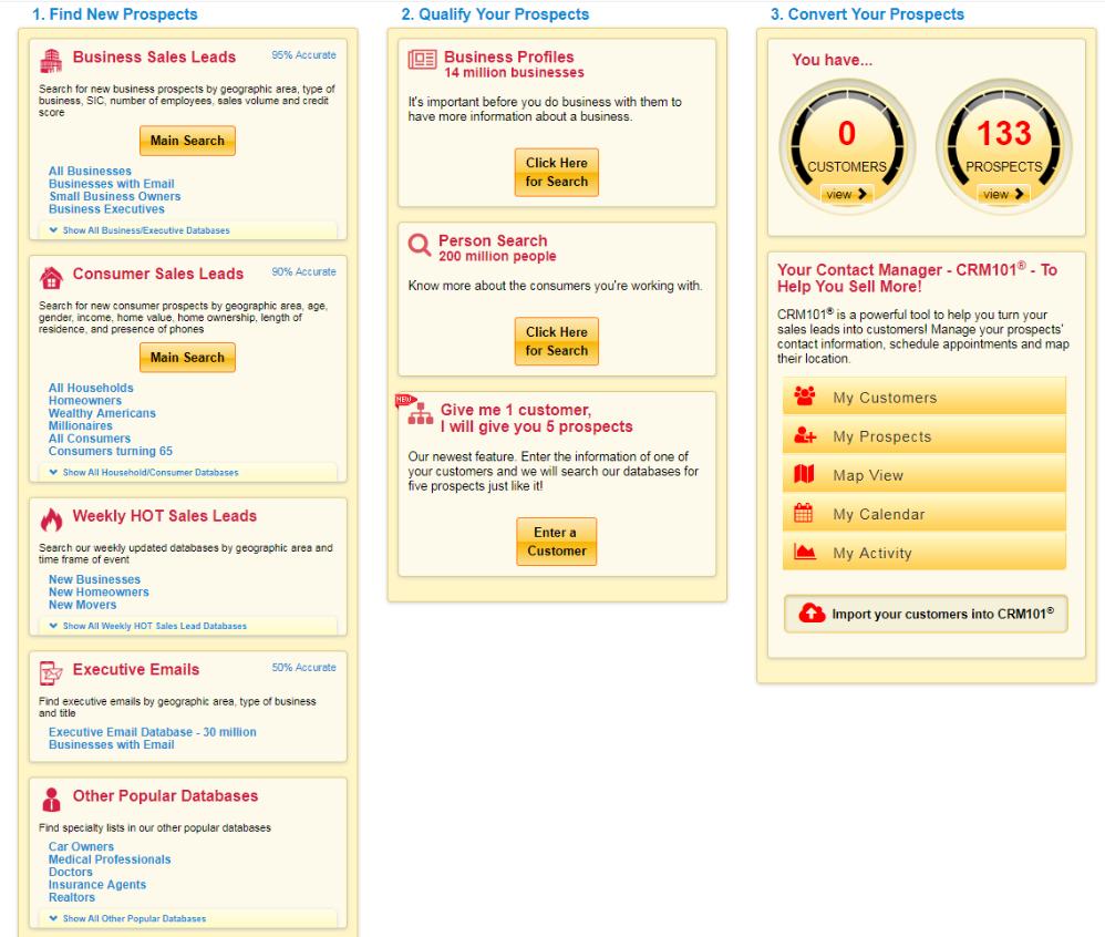 infofree Demo - Main Database Page