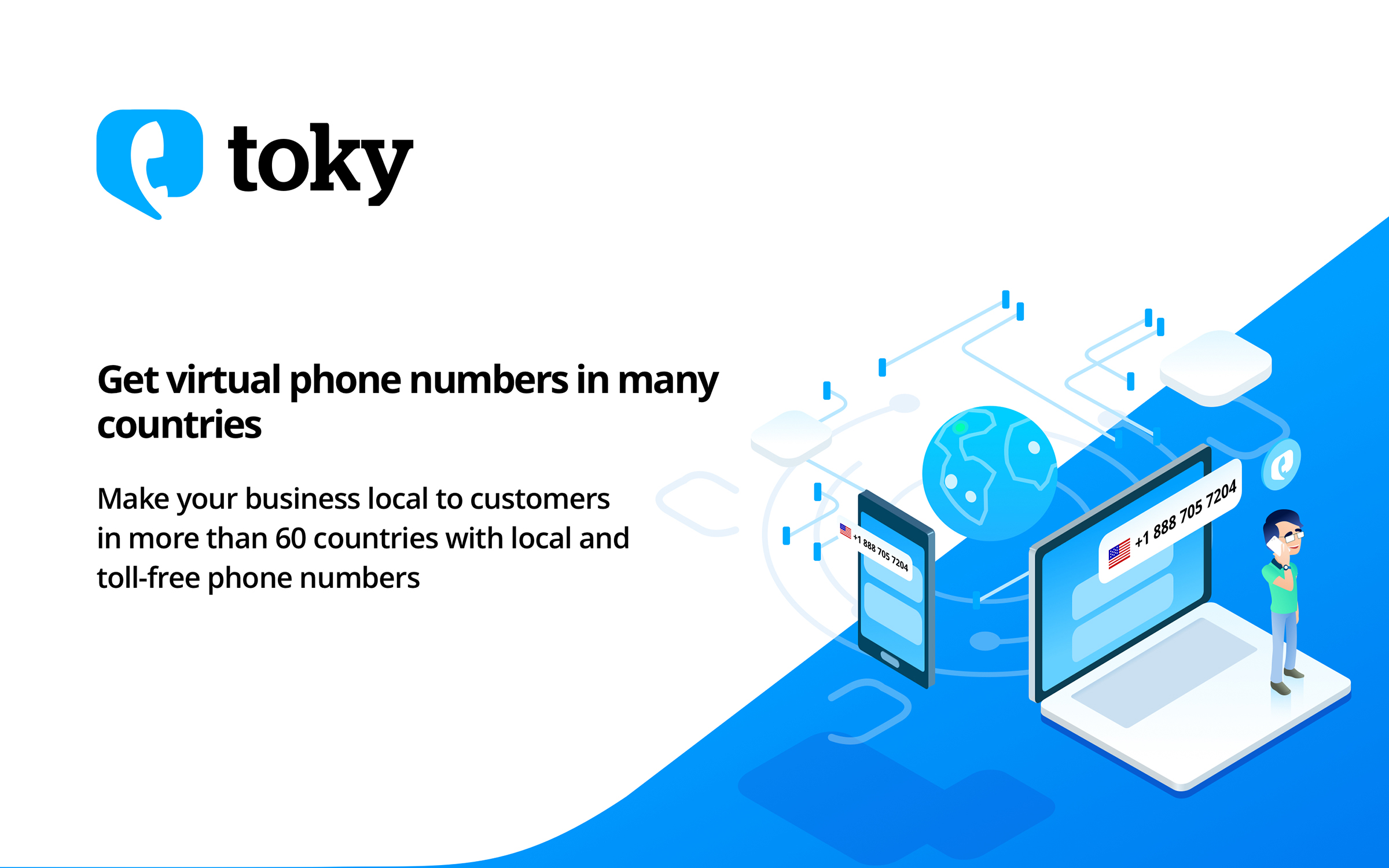 Toky Demo - Get virtual phone numbers in many countries