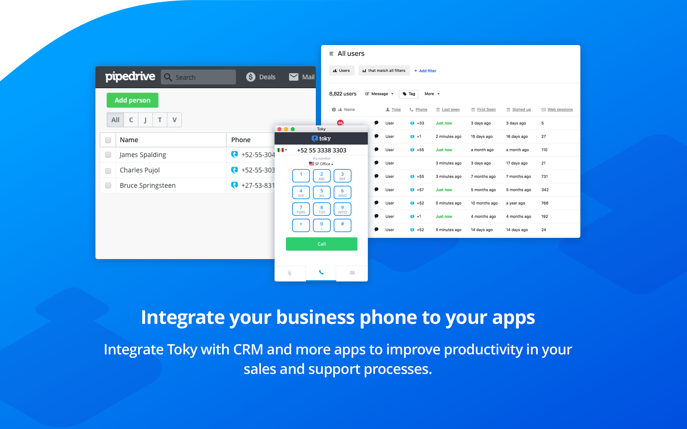Toky Demo - Integrate your business phone to your apps