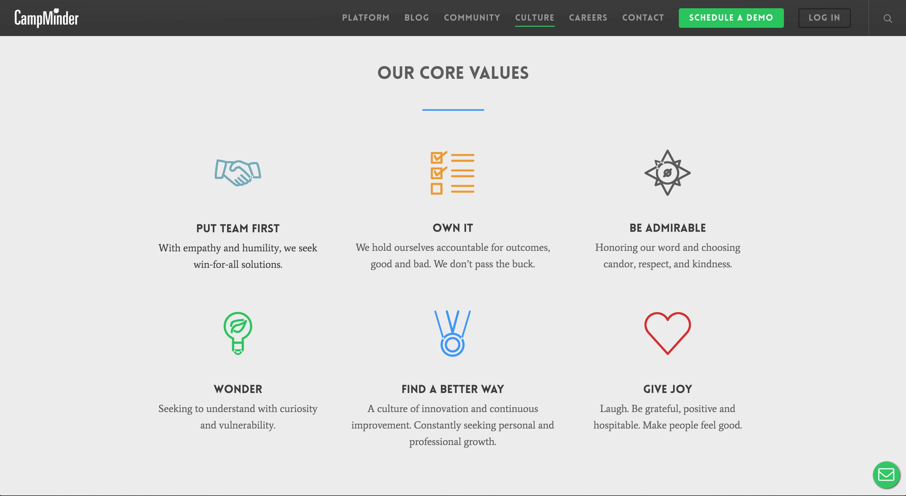 CampMinder Demo - CampMinder Company Values