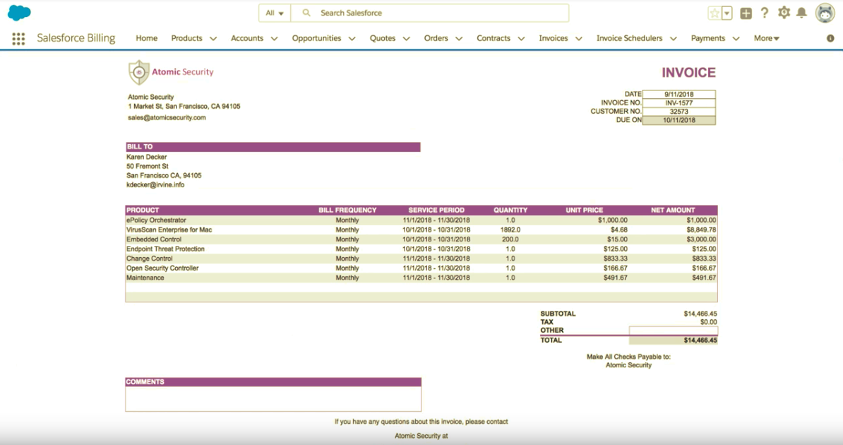 Salesforce Billing Demo - Salesforce Billing Invoices