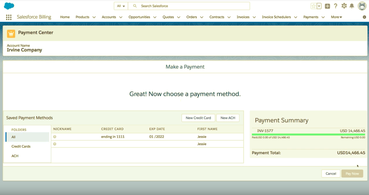 Salesforce Billing Demo - Making Payments