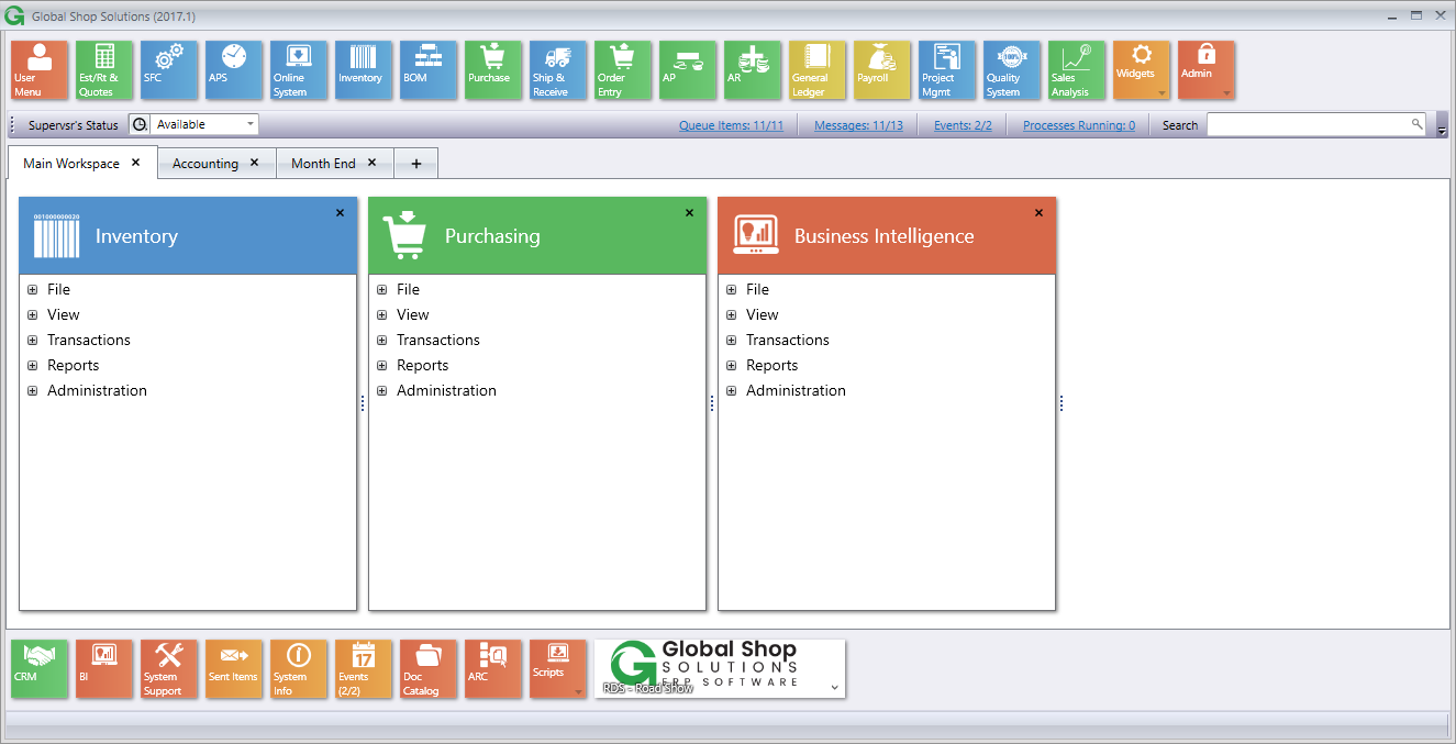 Global Shop Solutions One-System ERP Demo - Global Shop Solutions Main Menu
