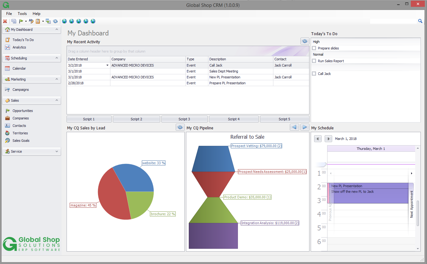 Global Shop Solutions One-System ERP Demo - Global Shop Solutions CRM