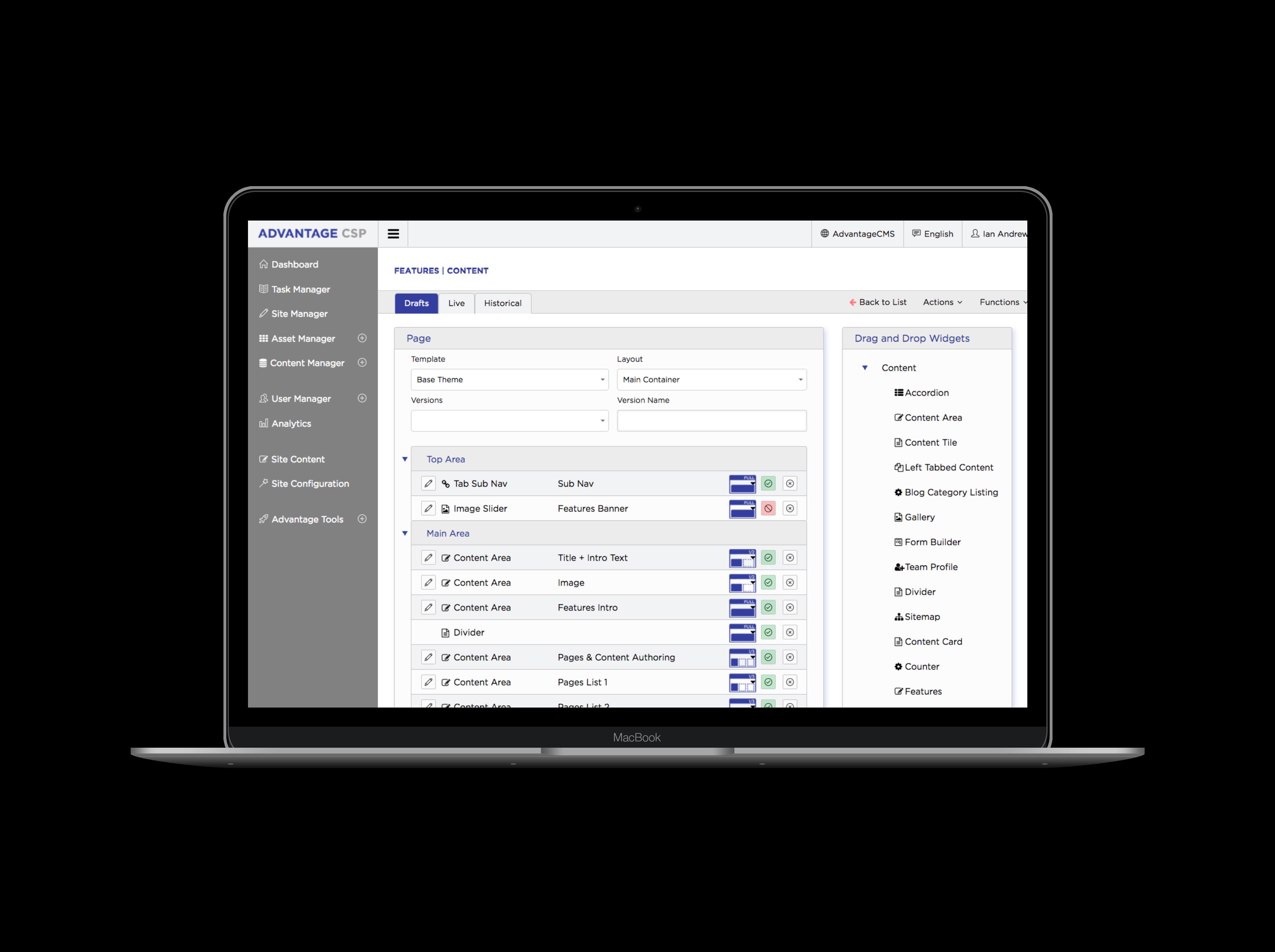 Advantage CSP Demo - Advantage CSP Site Manager