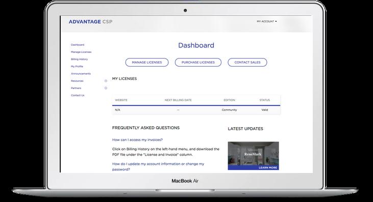 Advantage CSP Demo - Portal Dashboard