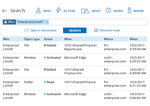 Netwrix Auditor Demo - Interactive Google-like Search