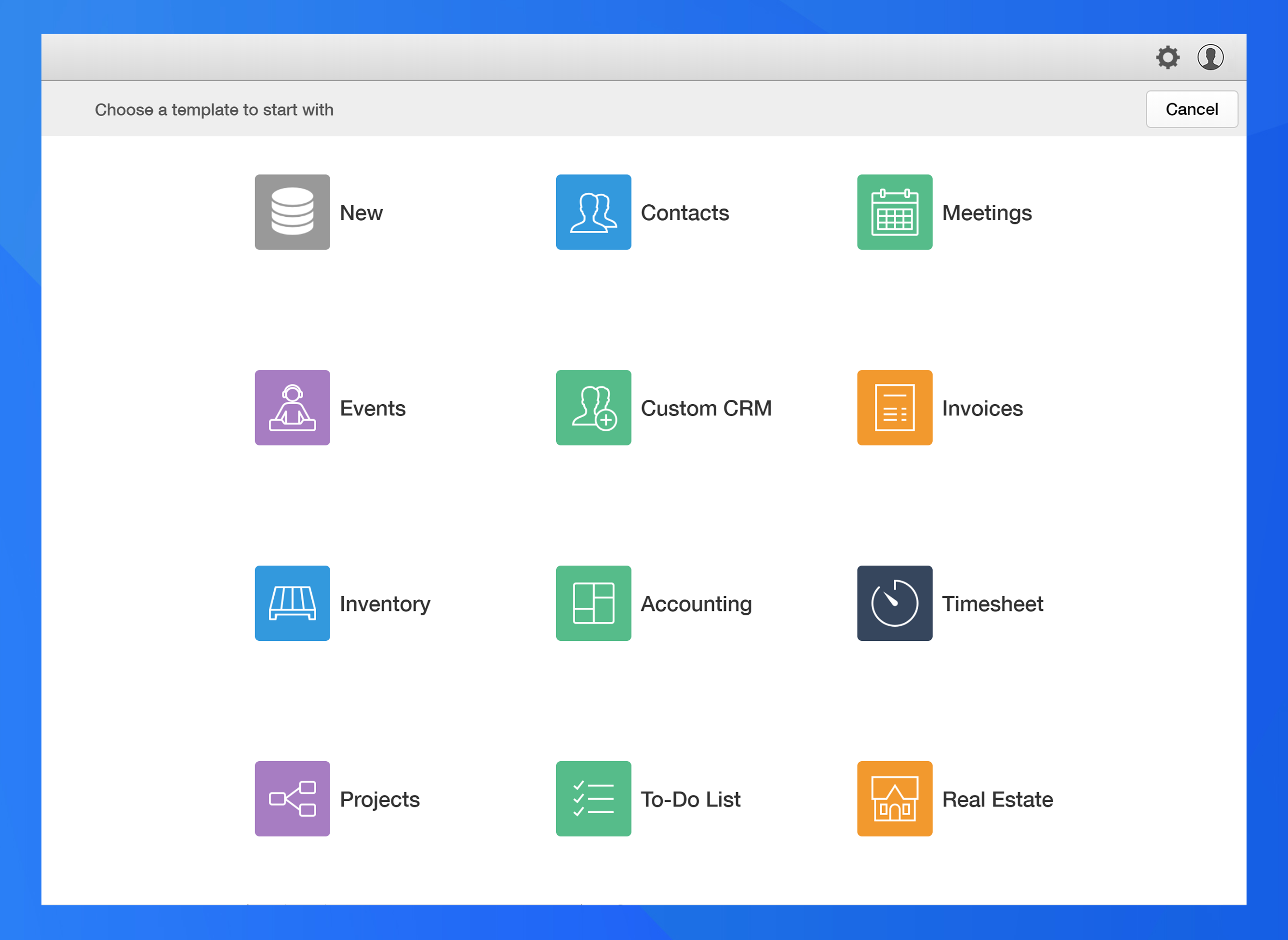 Ninox Database Demo - Get a head start with built-in templates