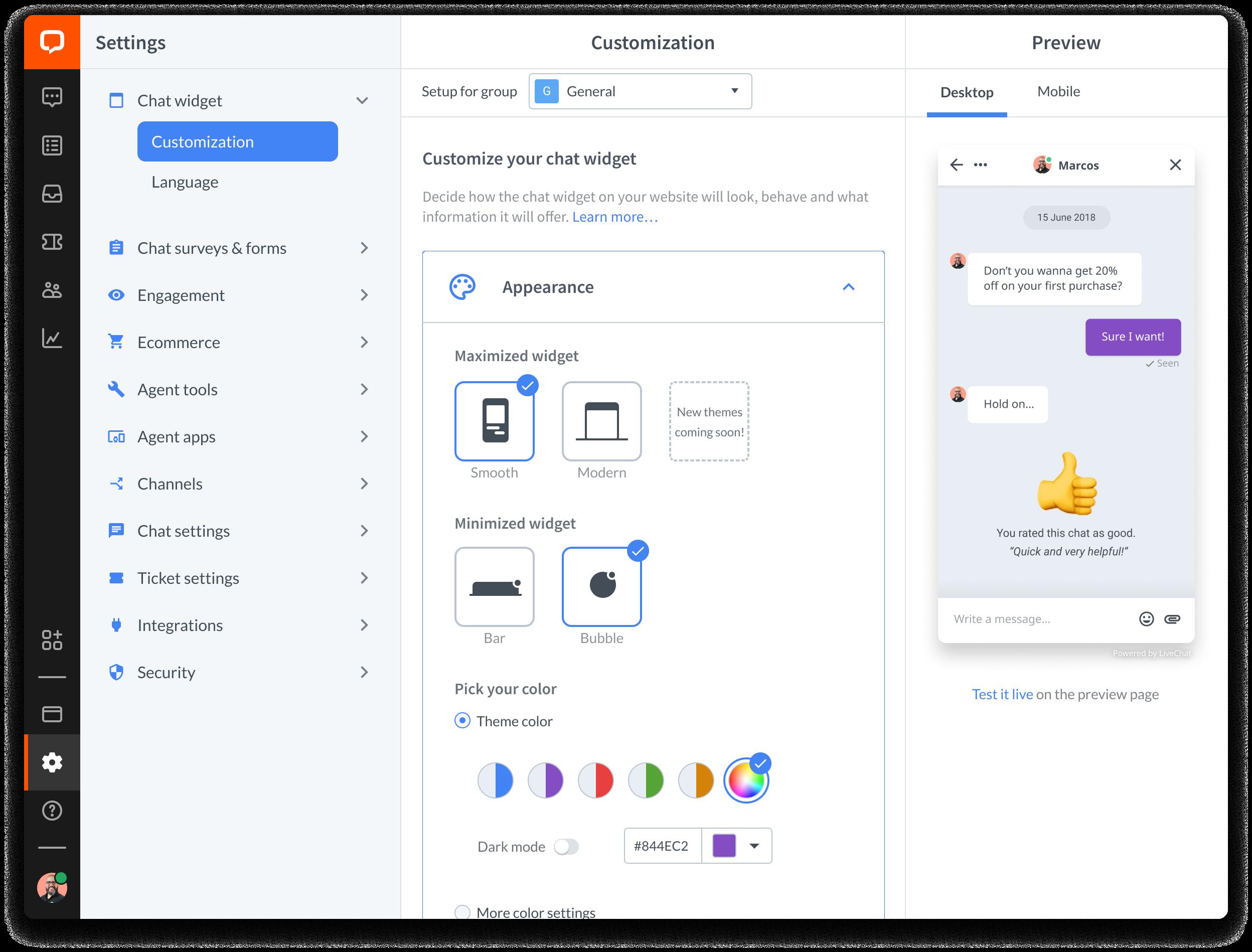 LiveChat widget customization options