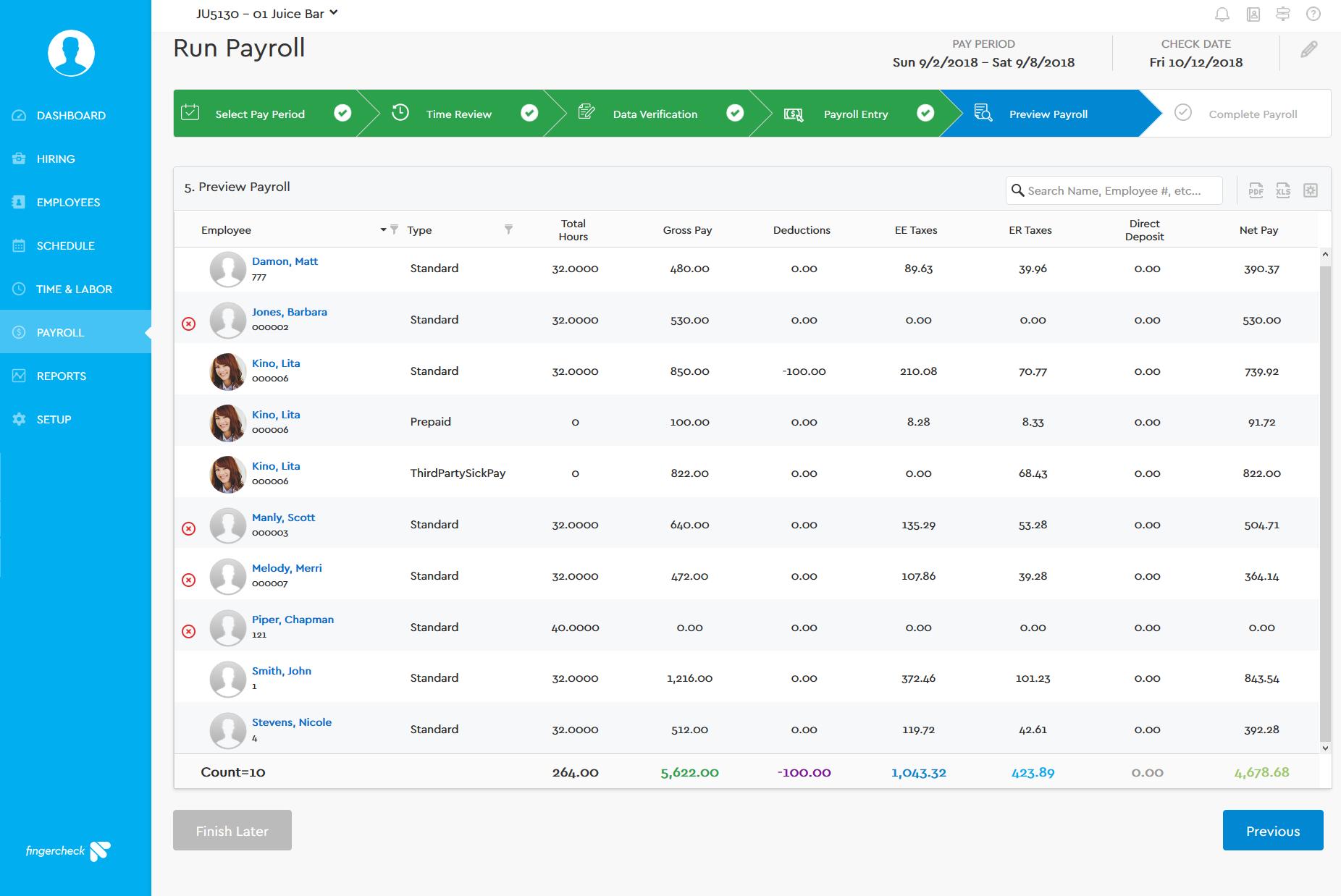 Fingercheck Demo - Run Payroll