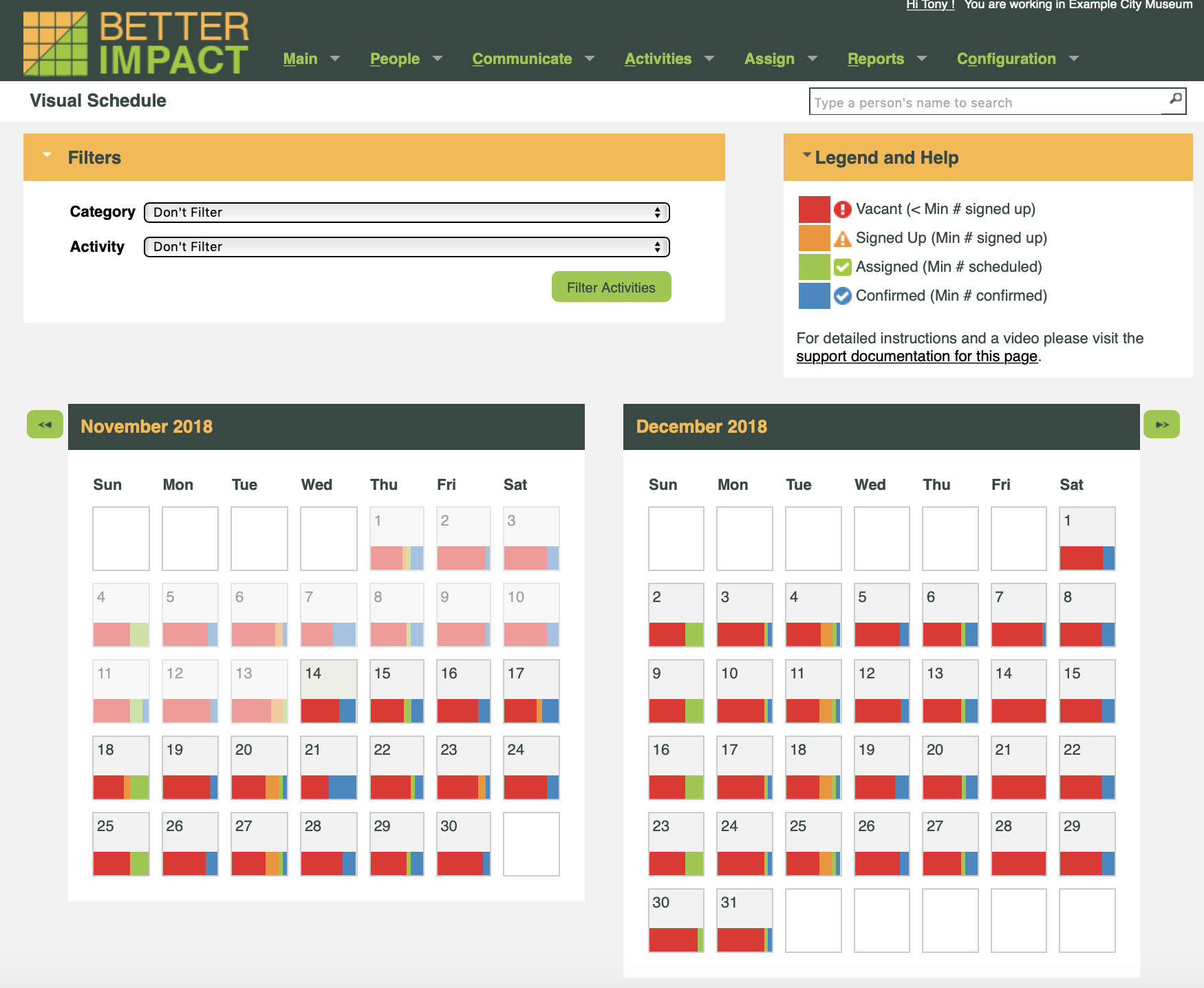 Volunteer Impact Demo - Scheduling and Color Coded Shift Status