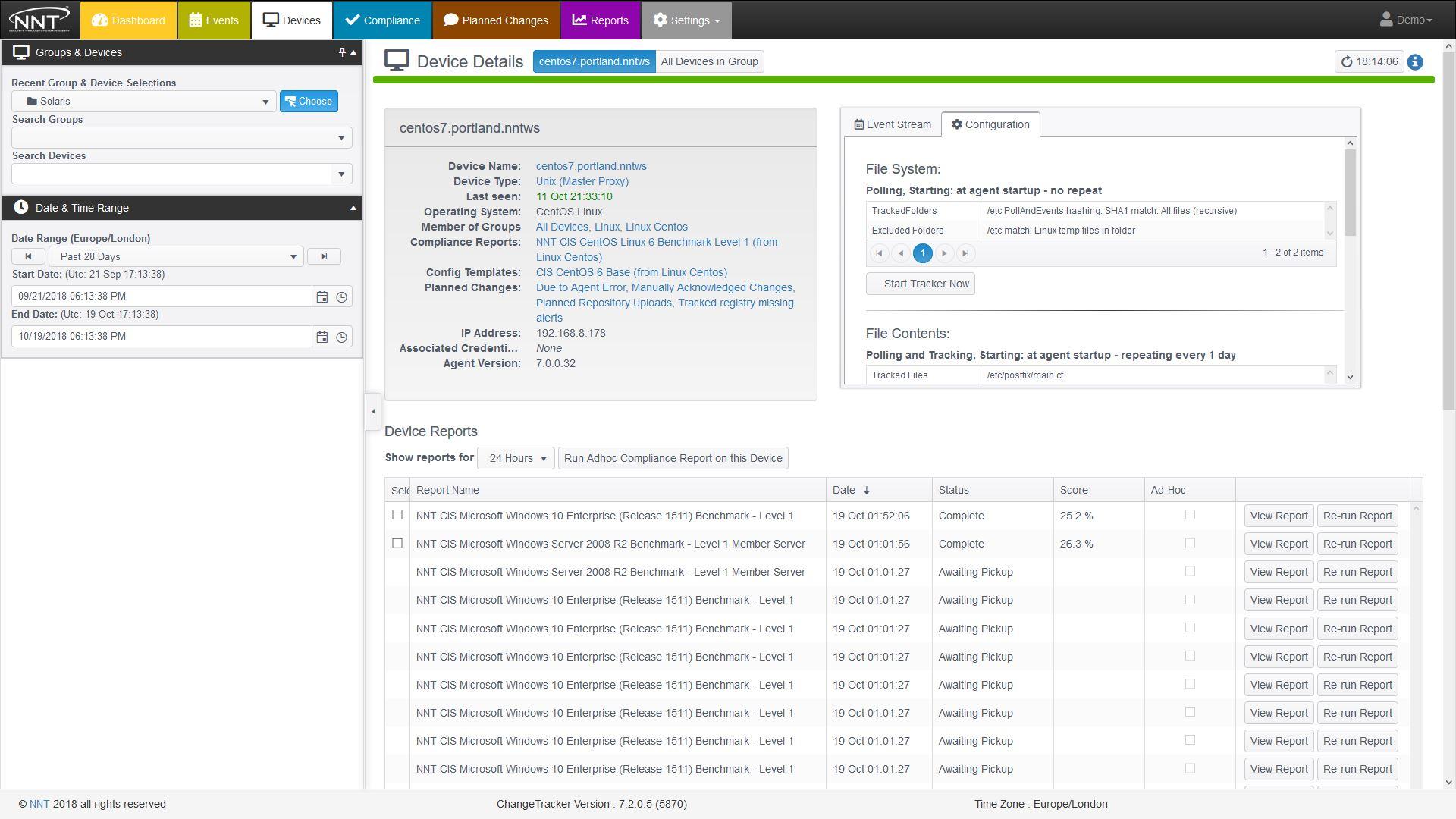 Change Tracker Gen7 R2 Demo - Device Details Page