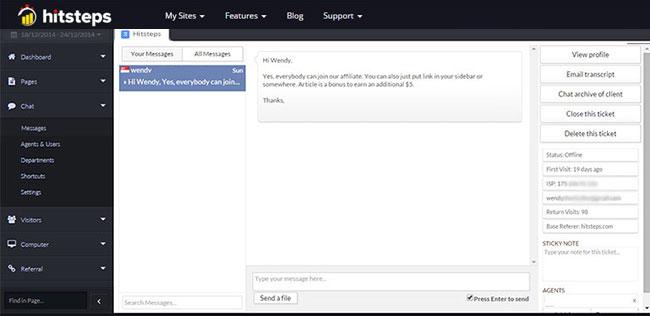 Hitsteps Web Analytics Demo - Live Chat