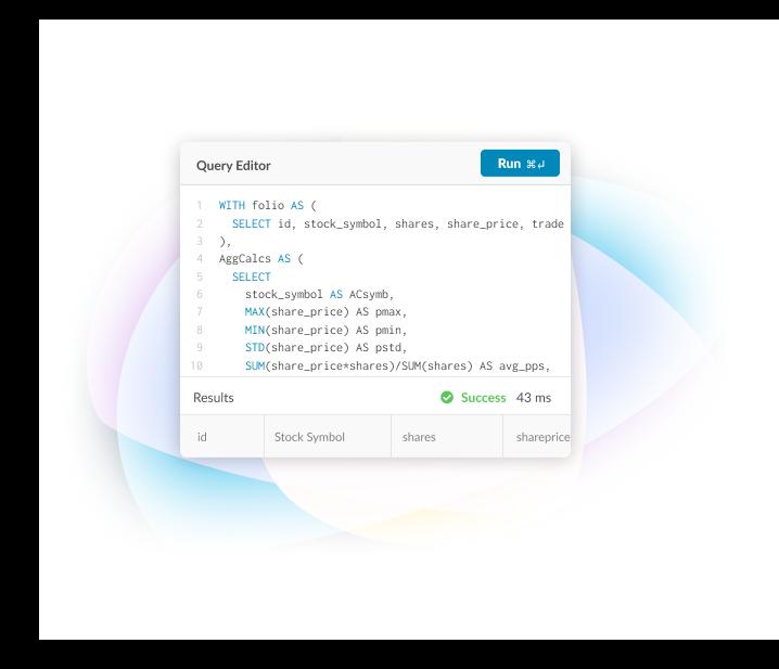 MemSQL Demo - MemSQL Studio Query Editor