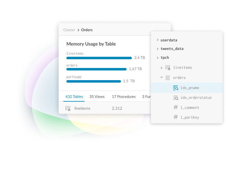 MemSQL Demo - MemSQL Studio Schema Explorer