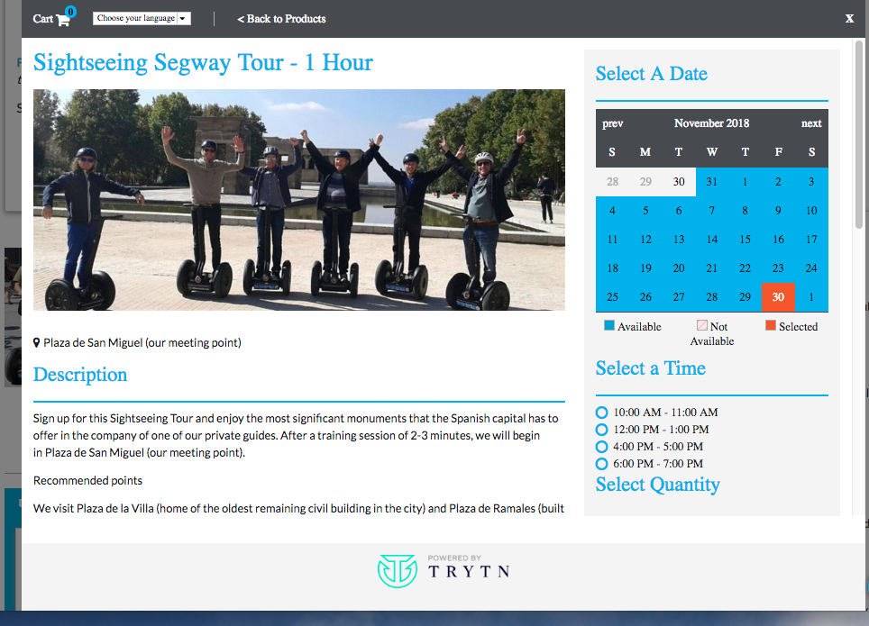 TRYTN Demo - Segway tour with multiple time slots