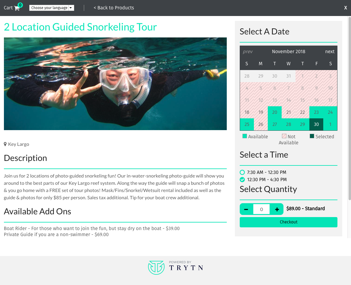 TRYTN Demo - Activity with limited availability and time slots