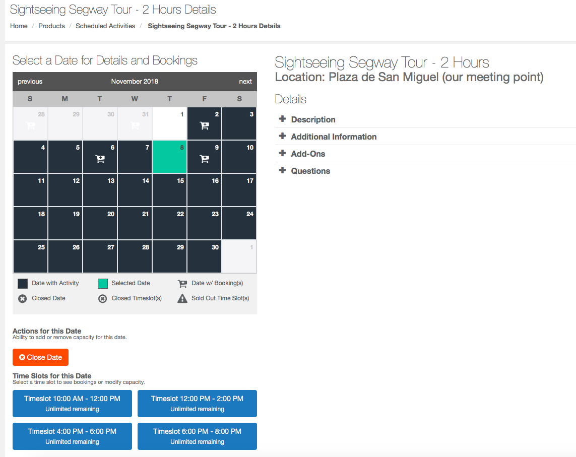 TRYTN Demo - Administrator view of activity schedule