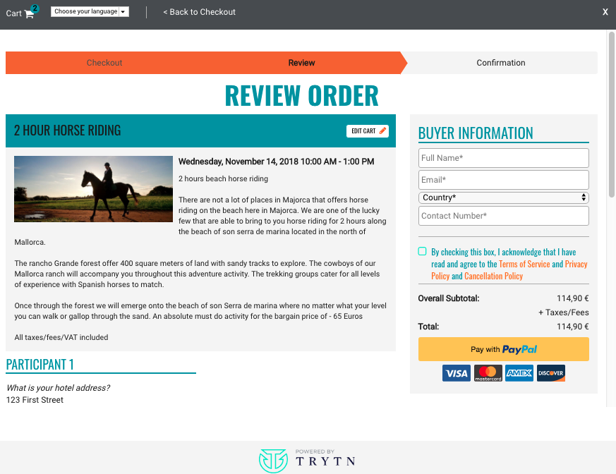 TRYTN Demo - PayPal Marketplace integration on a clearly defined review screen