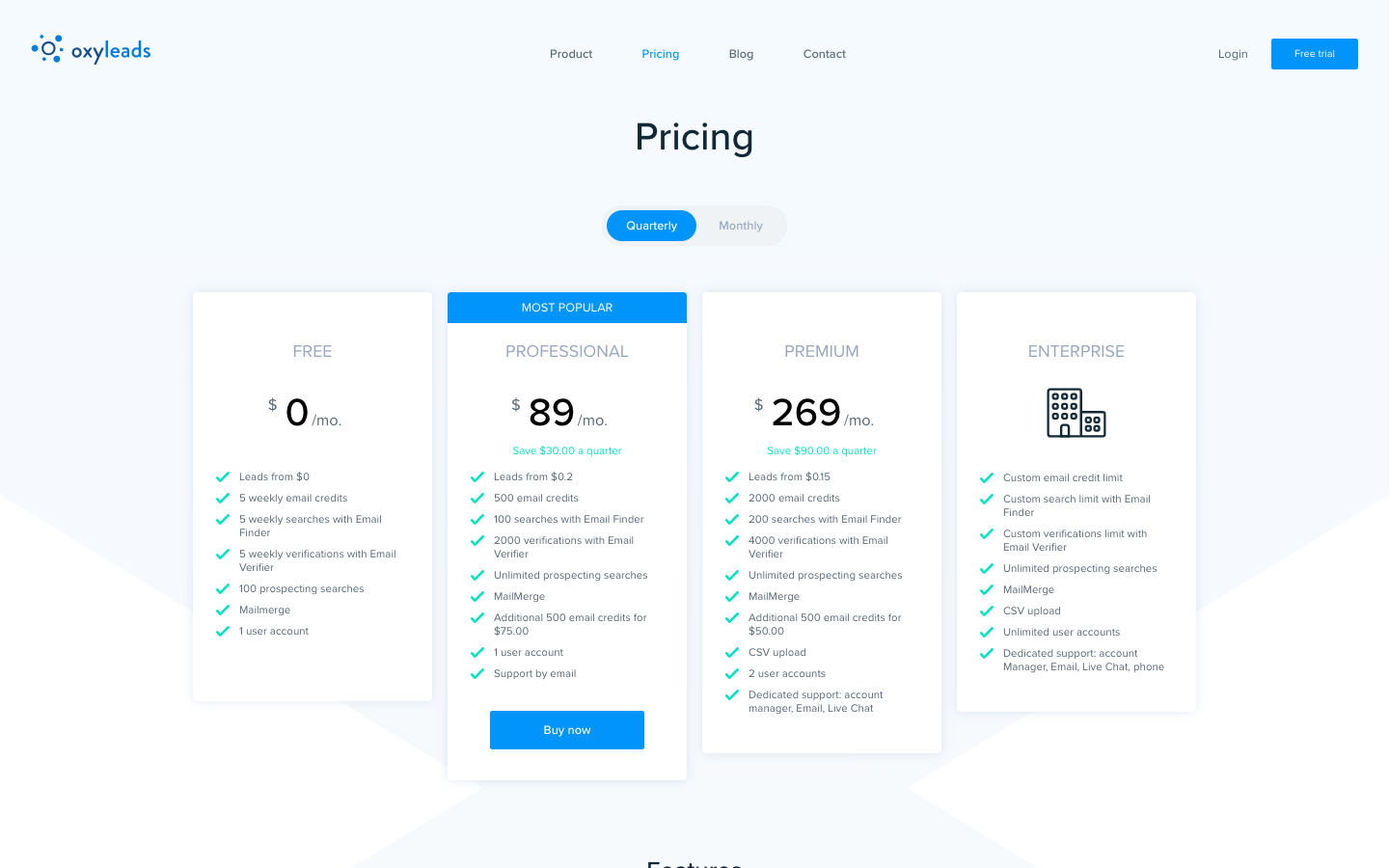 Oxyleads Demo - Oxyleads Pricing