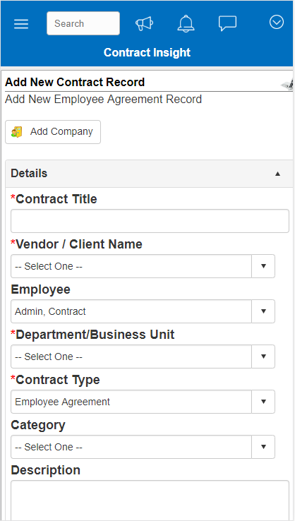 Contract Insight Demo - Mobile Contract Management with CobbleStone Software