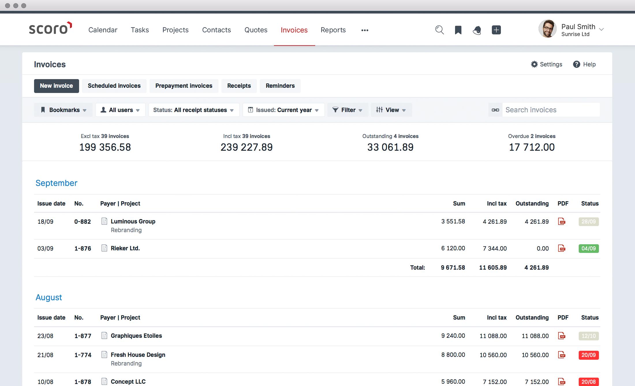 Scoro Demo - Finances –invoices
