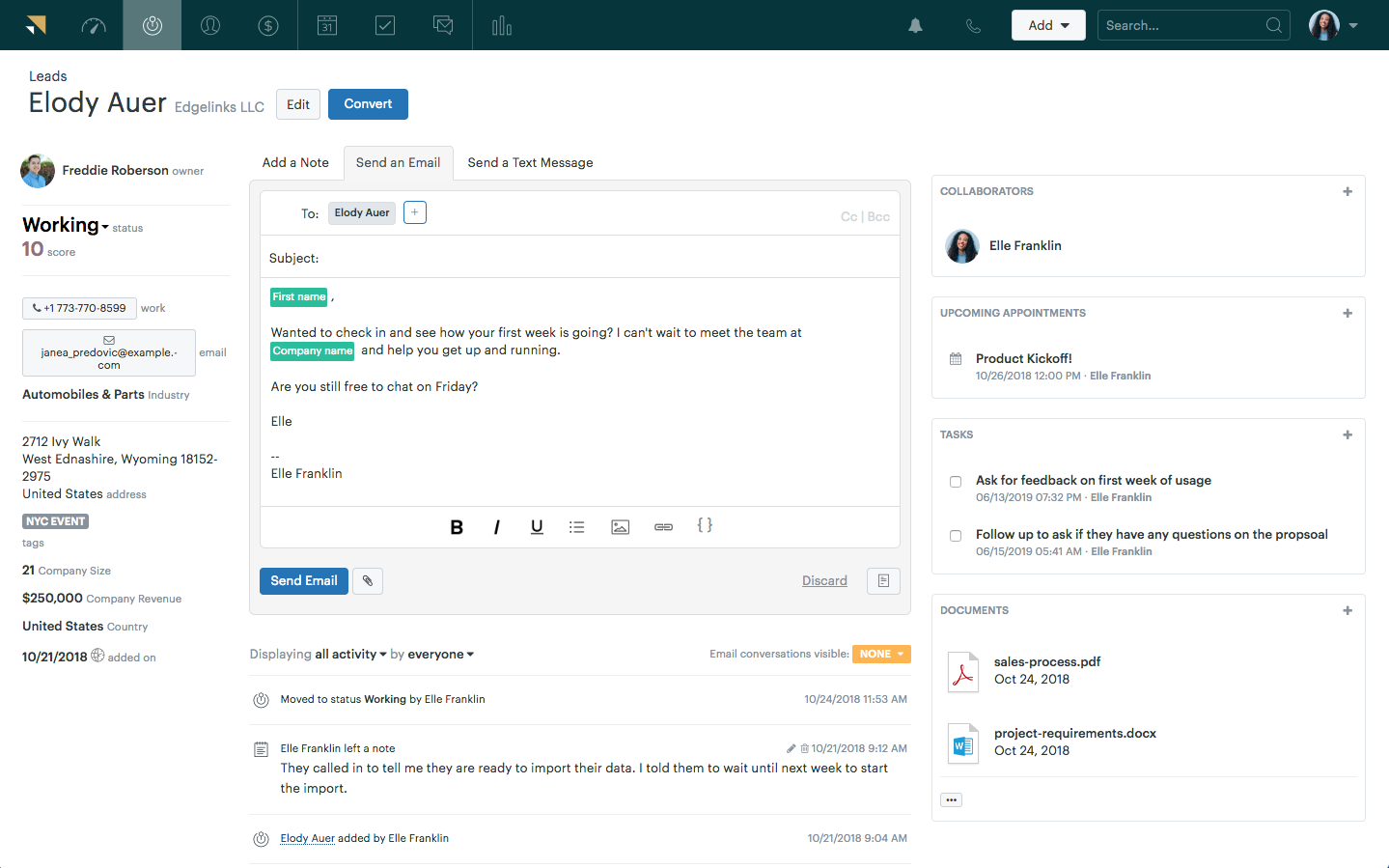Zendesk Sell Demo - Integrated Email