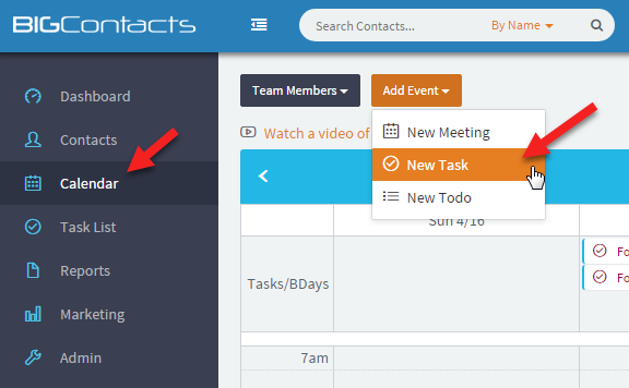 BigContacts Demo - New Task