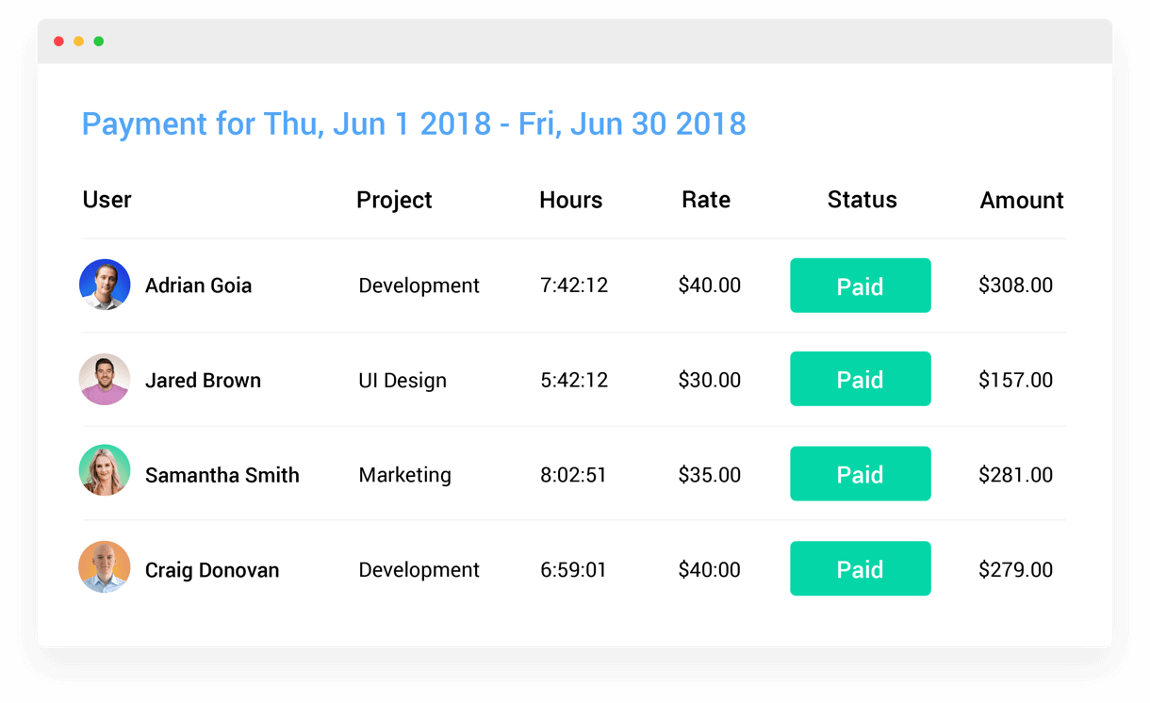 Hubstaff Demo - Payroll (automatic)