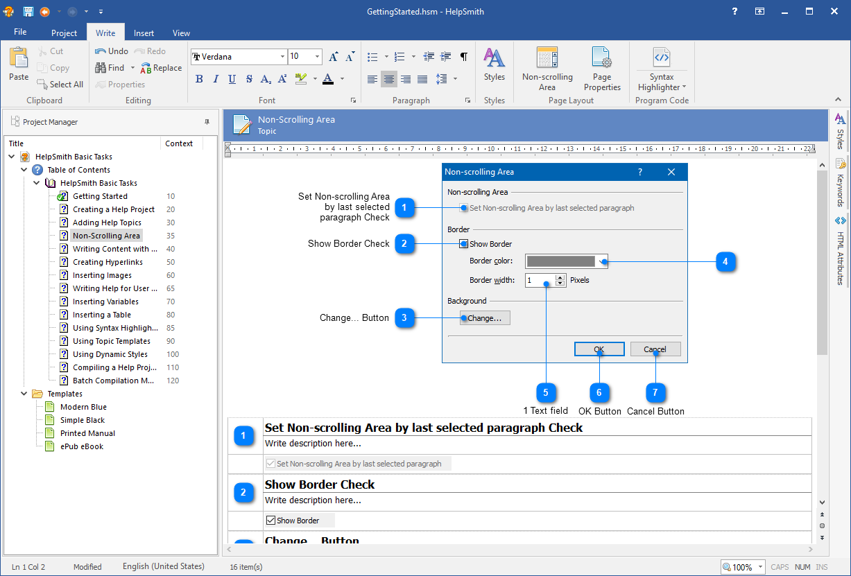 HelpSmith Demo - Automatic topic generation for dialog windows