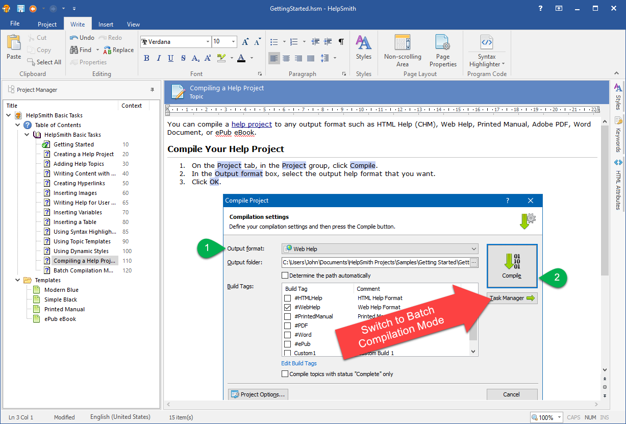 HelpSmith Demo - Writing a help file in HelpSmith