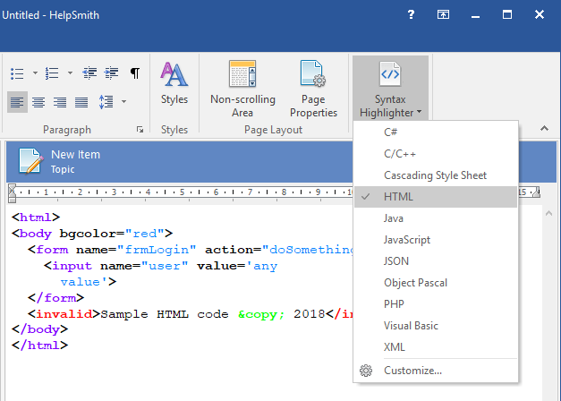HelpSmith Demo - Formatting program code with Syntax Highlighter