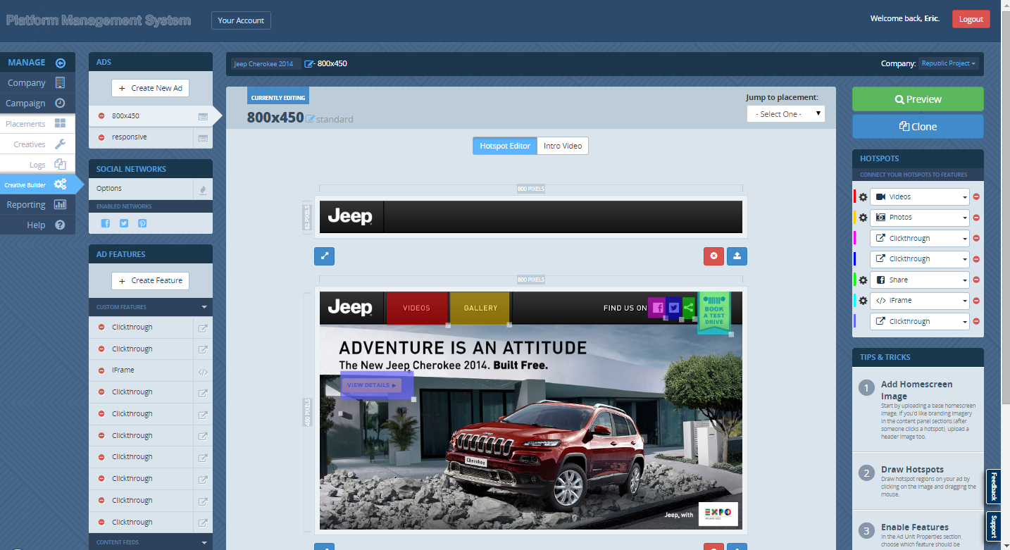 Sizmek Demo - Screenshot of our self-serve rich media toolset to create social and mobile ads